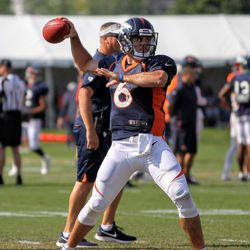 Broncos QB Chad Kelly looks to throw a pass.