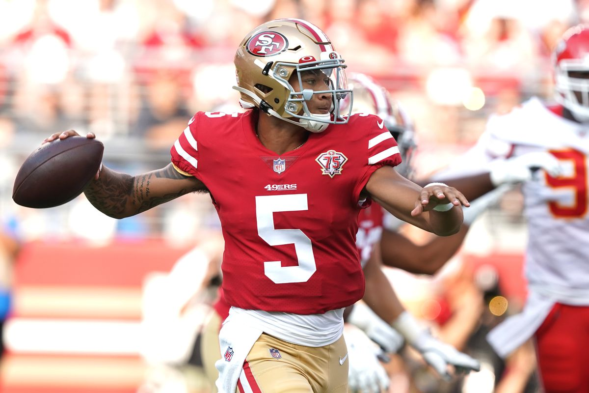 San Francisco 49ers quarterback Trey Lance (5) throws a pass against the Kansas City Chiefs during the first quarter at Levi's Stadium.