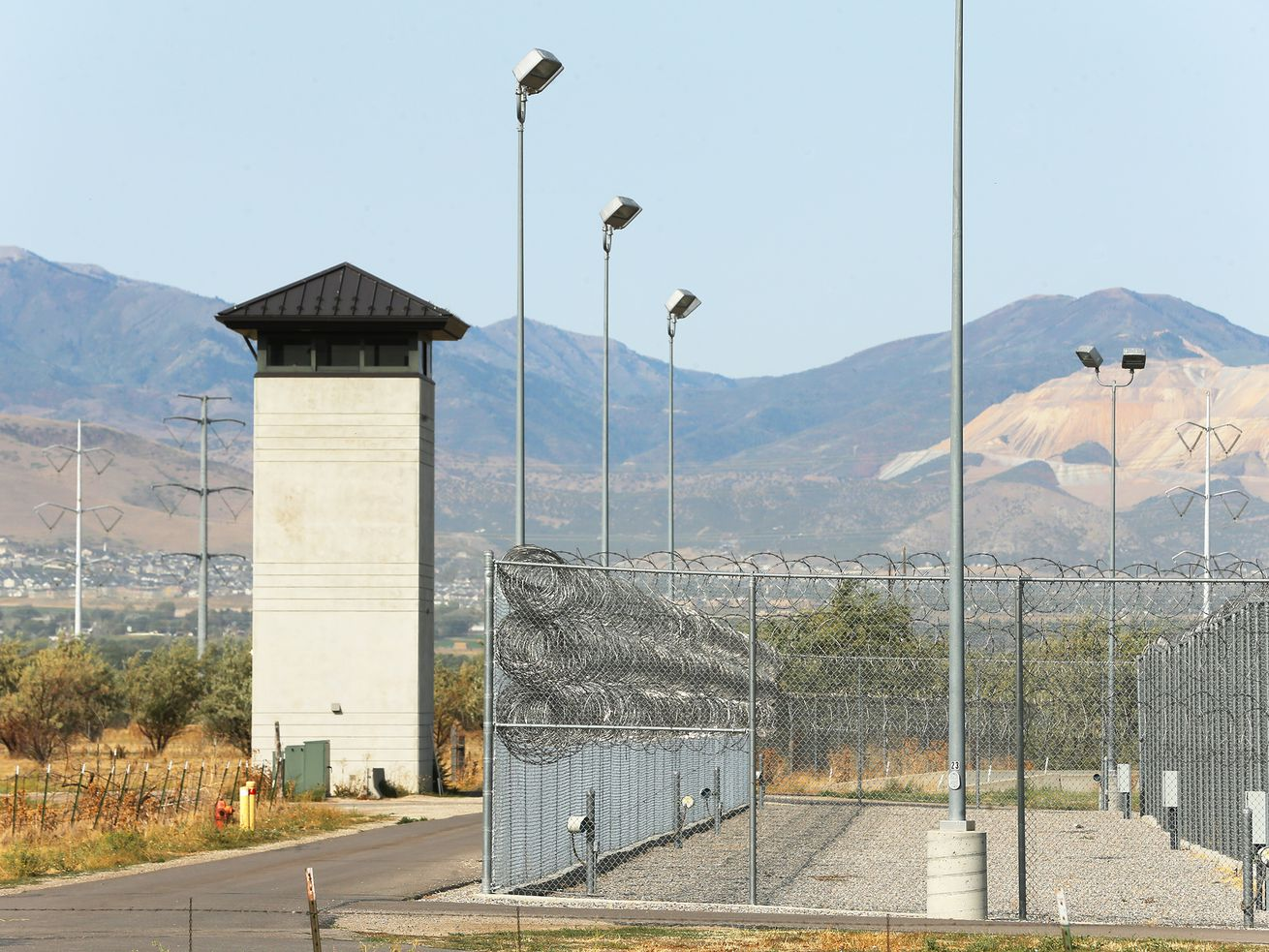 "A guard tower at the Utah State Prison on Monday, Sept. 14, 2020. State and local officials make an announcement regarding the launch of planning efforts to redevelop the Utah State Prison in Draper. ""The Point"" is the newly established name for this 700 acres of state-owned property."