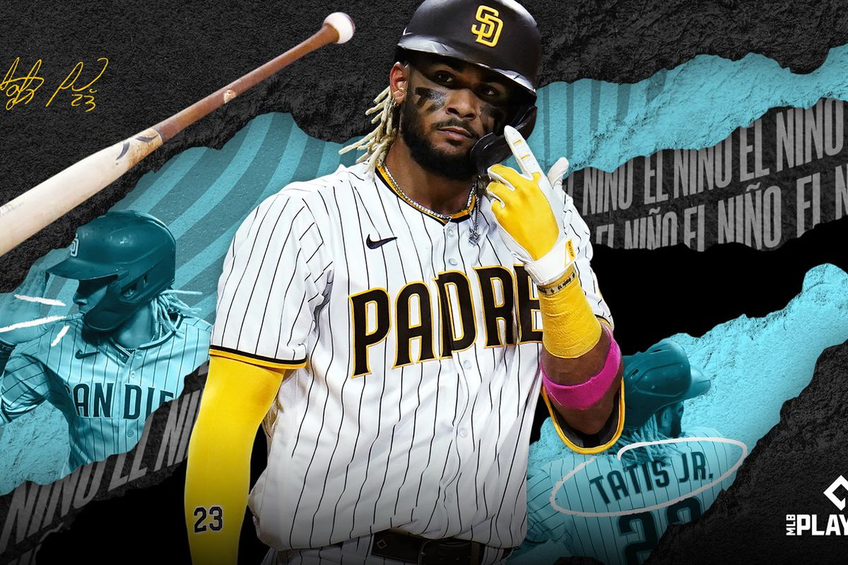 promotional shot for MLB The Show 21 depicting Fernando Tatis, Jr. insouciantly flipping his bat