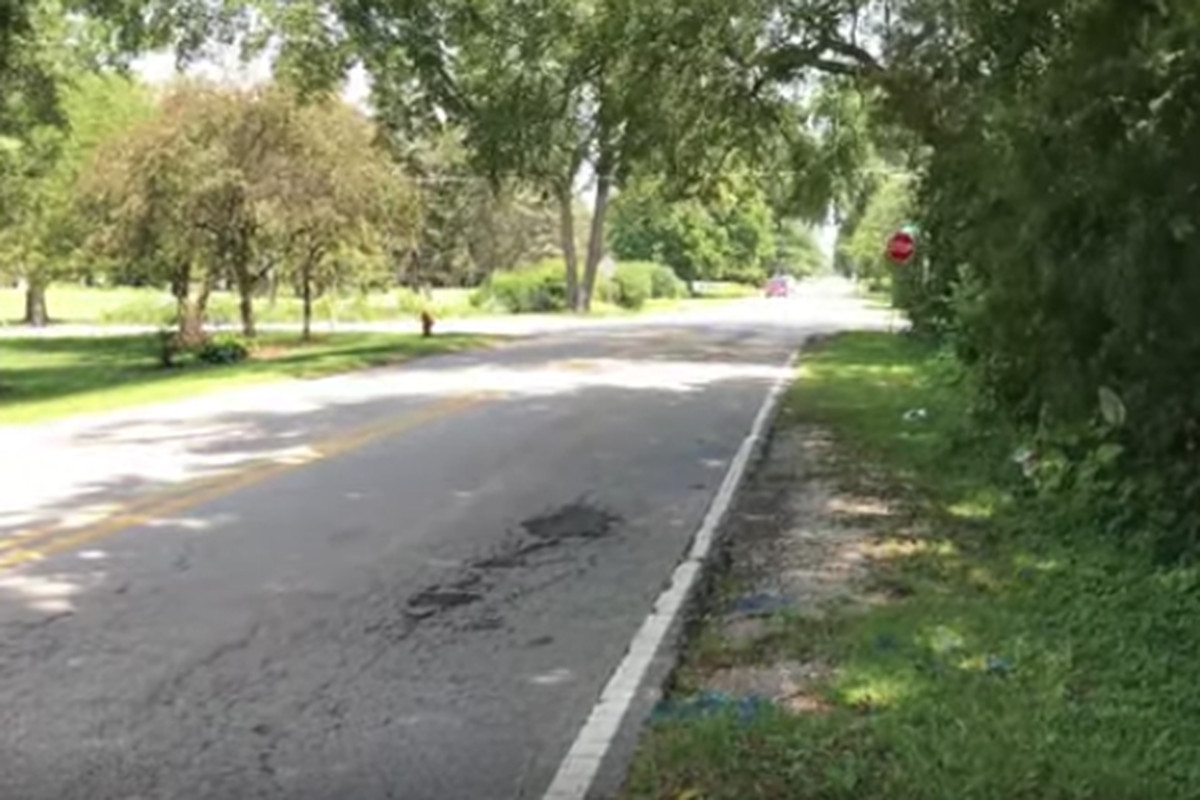 A screenshot of video shows the location where a 61-year-old was fatally struck by a hit-and-run driver Tuesday on Edgelawn Road and Prairie Street in west suburban Aurora.