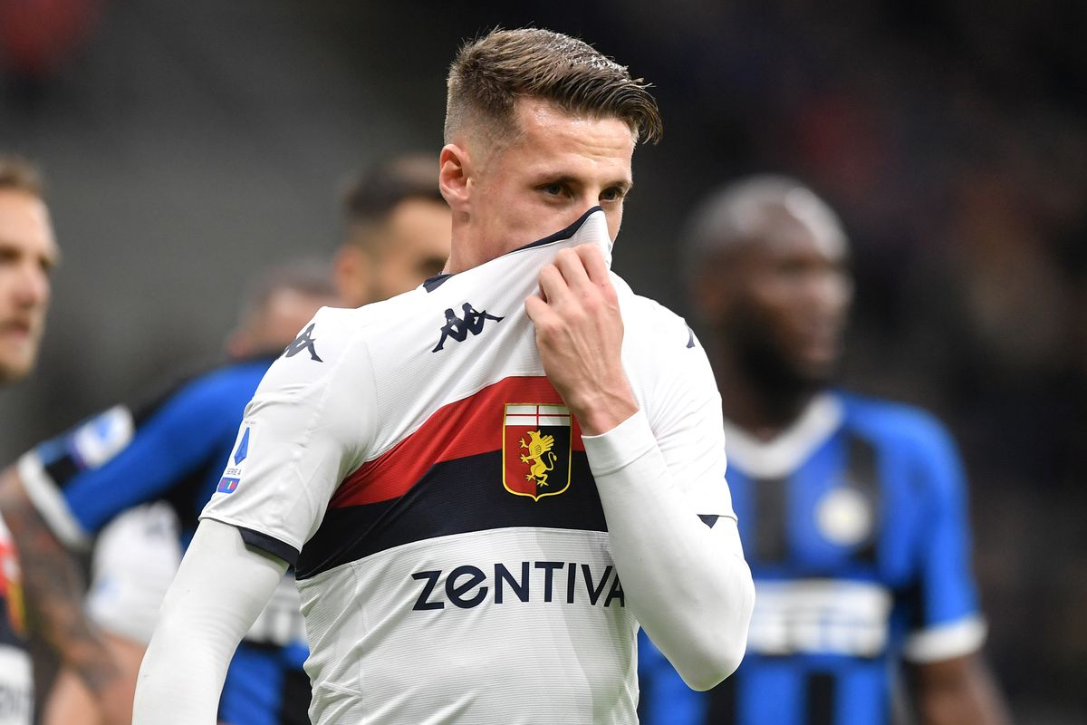 Andrea Pinamonti of Genoa reacts during the Serie A football...