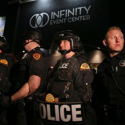 Police officers stand guard outside the Infinity Event Center after Donald Trump spoke in Salt Lake City on Friday, March 18, 2016.