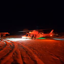 A medical helicopter responds to an early morning house fire in Hobble Creek Canyon in Springville on Friday, Feb. 21, 2020.
