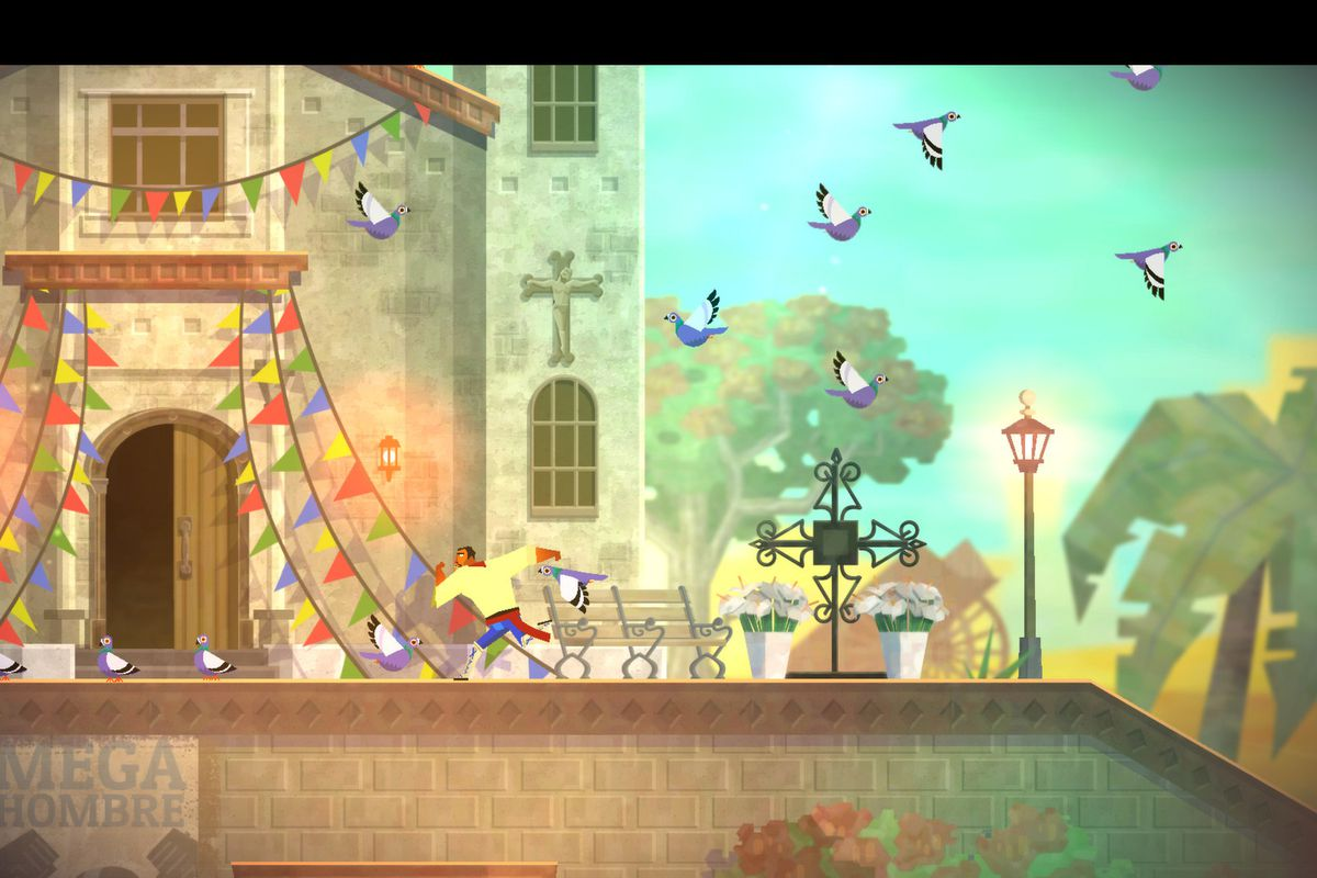 Guacamelee birds flying by church