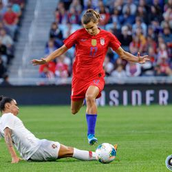 September 3, 2019 - Saint Paul, Minnesota, United States - USA forward Tobin Heath (17) escapes a slide tackle from Portugal forward Ana Borges (9) during the USA World Cup Victory Tour match at Allianz Field.