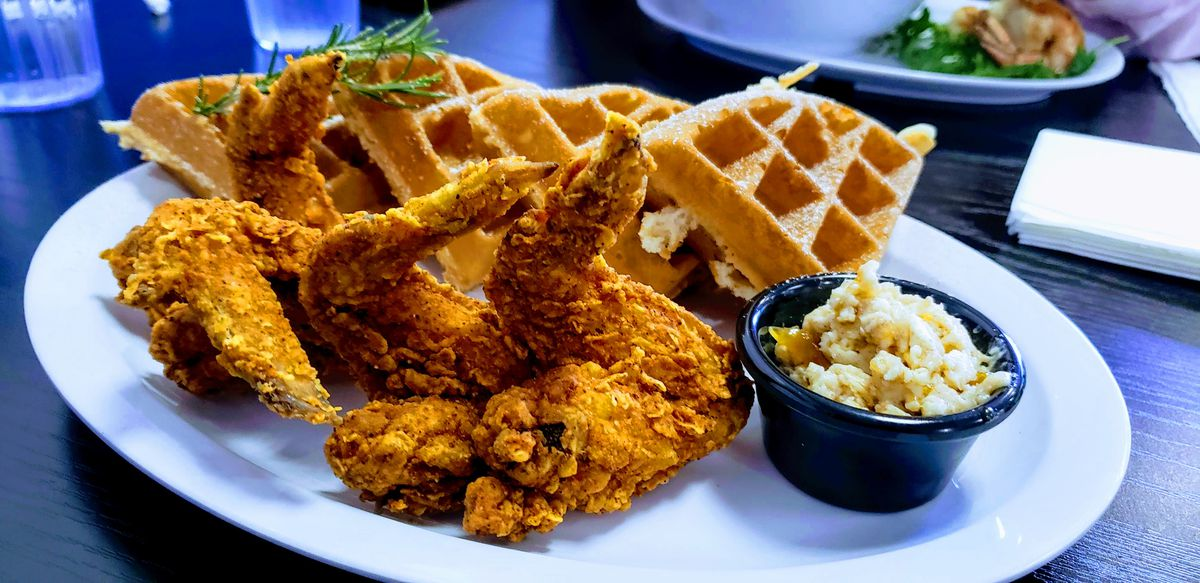 Chicken and waffles at Court Cafe Westchester .