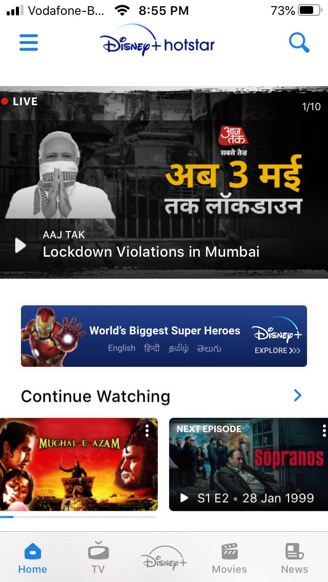 Disney Plus Hotstar screencap with indian news and sopranos
