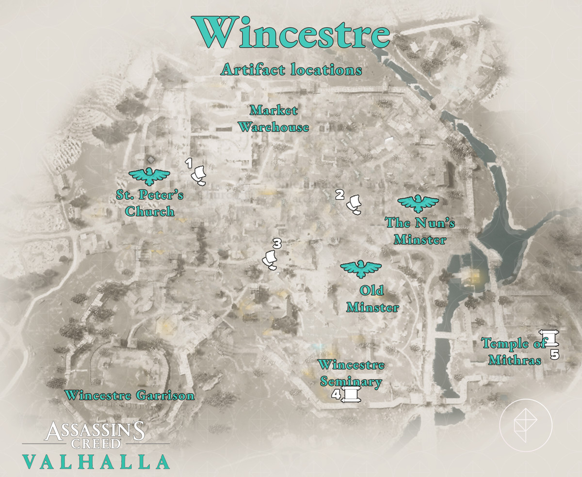 Wincestre Artifacts locations map