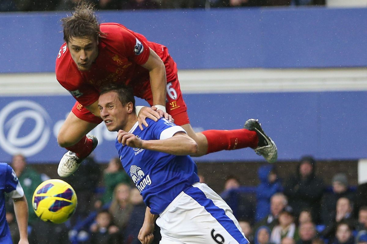 Coates attempts a legal gymnastics move in assisting on Suarez's winning goal (Not).