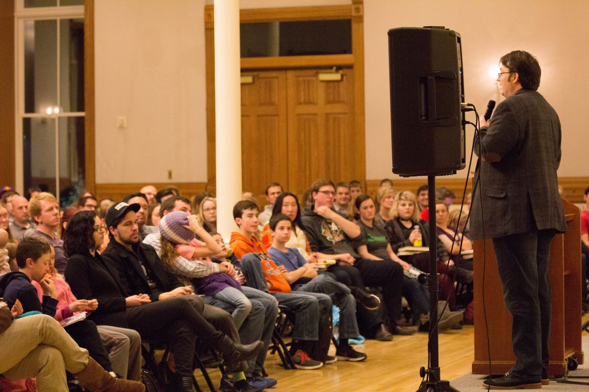 Author Brandon Sanderson speaks at a young adult event at the Provo City Library.