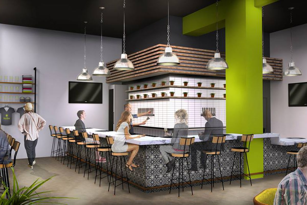 A rendering of the bar at CraftHaus Tasting Room