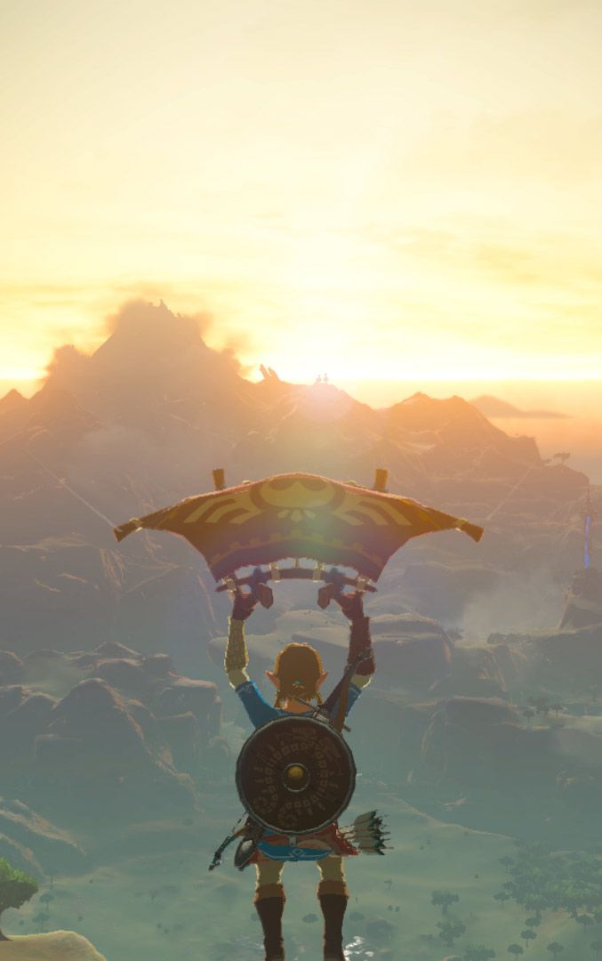 link on a paraglider in breath of the wild