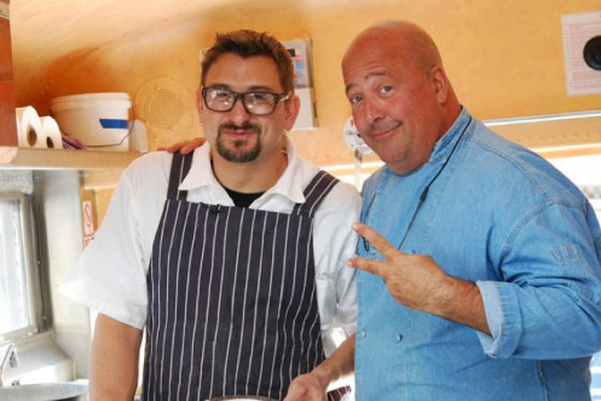 Incanto chef Chris Cosentino (left) and Bizarre Foods star Andrew Zimmern