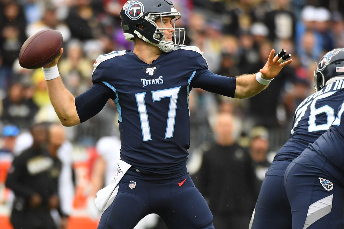 Tennessee Titans quarterback Ryan Tannehill attempts a pass during the first half against the New Orleans Saints at Nissan Stadium