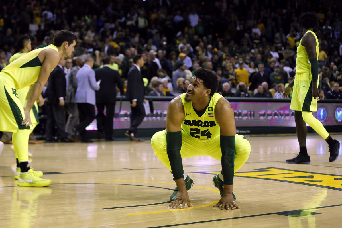 Feb 4, 2017; Waco, TX, USA; Baylor Bears forward Ishmail Wainwright (24)  and teammates react to losing to the Kansas State Wildcats 56-54 at the  Ferrell Center. Mandatory Credit: Erich Schlegel
