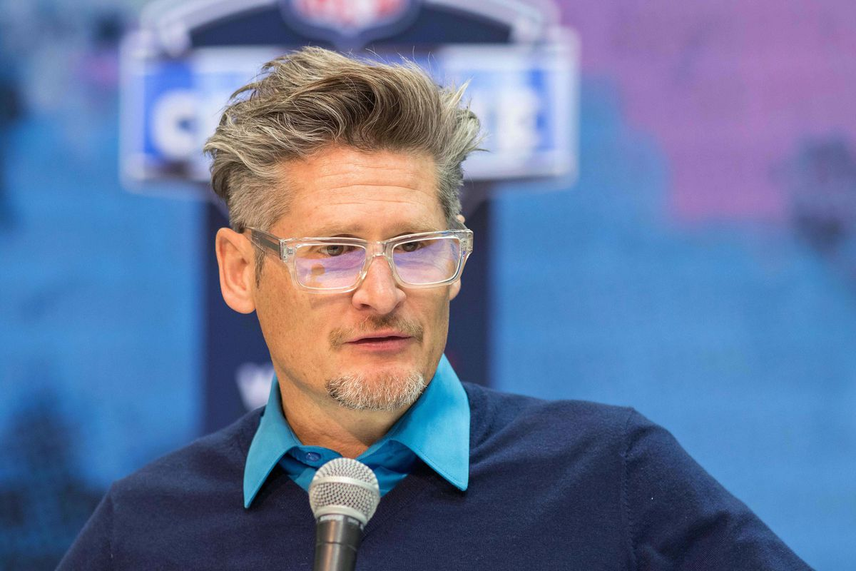 Atlanta Falcons general manager Thomas Dimitroff speaks to media during the 2019 NFL Combine at Indianapolis Convention Center.