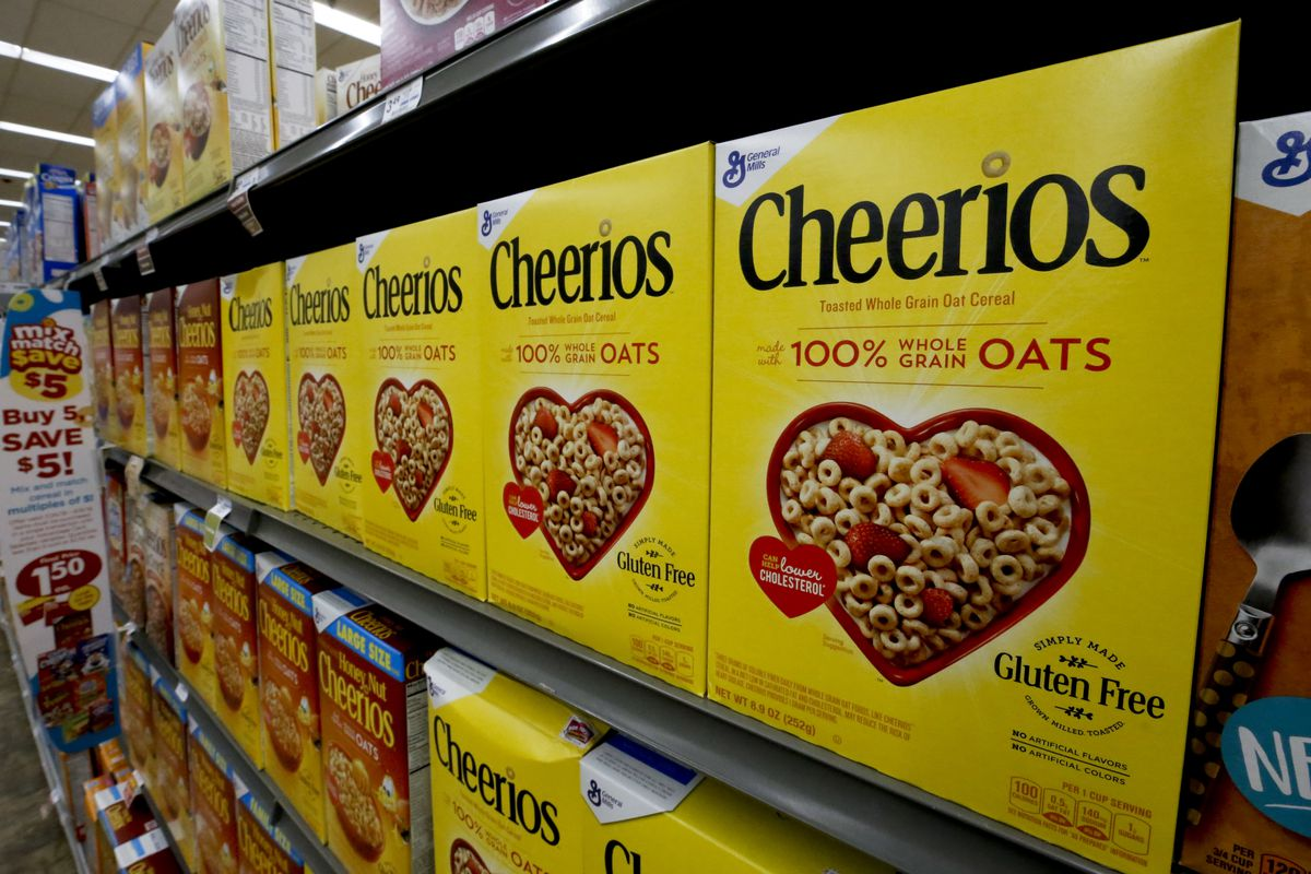Boxes of General Mills Cheerios cereal sit on display in a market in Pittsburgh, Wednesday, Aug. 8, 2018. (AP Photo/Gene J. Puskar)