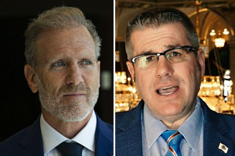 Suburban businessman Gary Rabine, left, in March; State Sen. Darren Bailey, R-Xenia, right, in 2020.