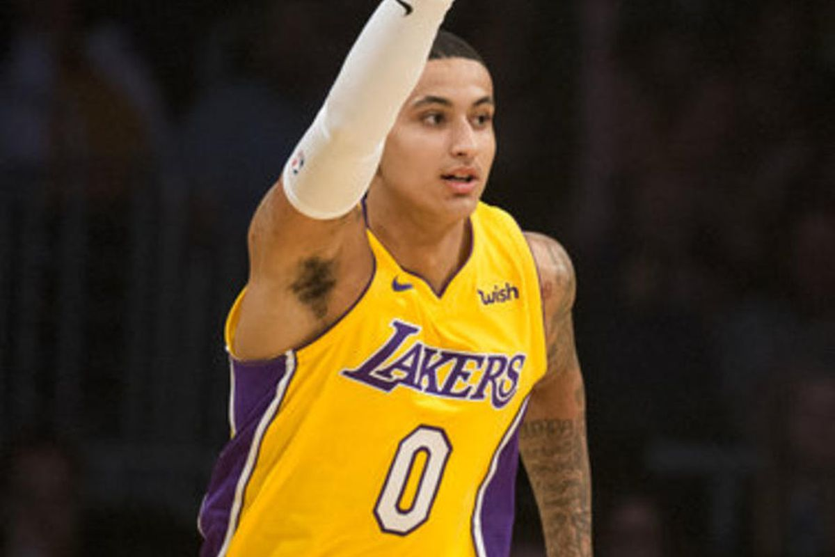 Los Angeles Lakers forward Kyle Kuzma during the first half of an NBA basketball game Tuesday, Nov. 21, 2017, in Los Angeles.
