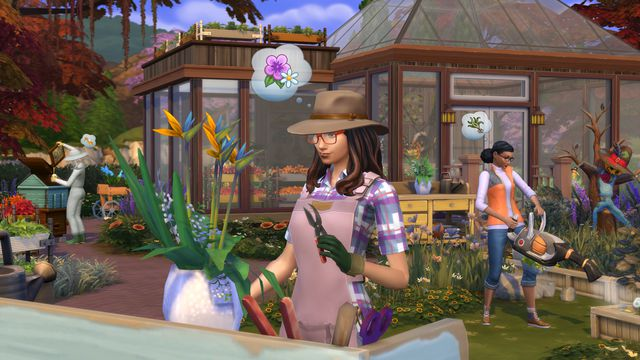 The Sims 4 Seasons - a woman gardening