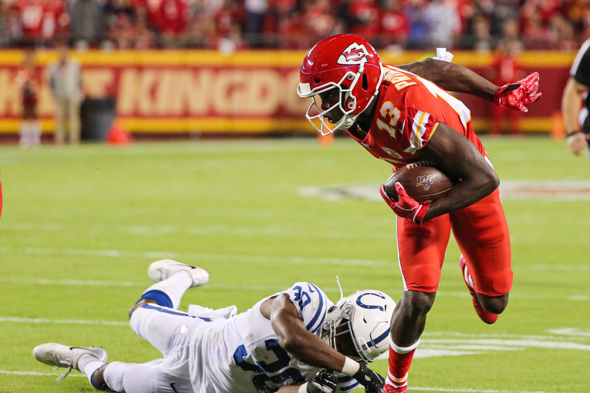 Kansas City Chiefs wide receiver Byron Pringle runs against Indianapolis Colts defensive back George Odum during the first half at Arrowhead Stadium.