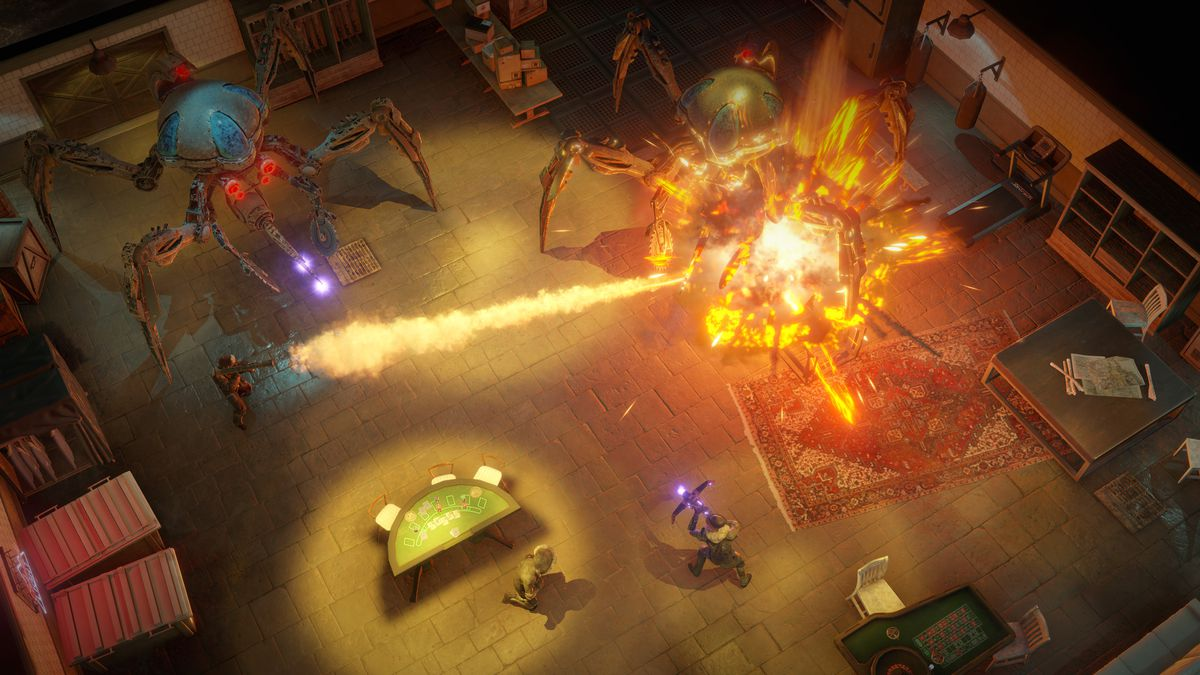 A battle against quadruped robots in a screenshot from Wasteland 3