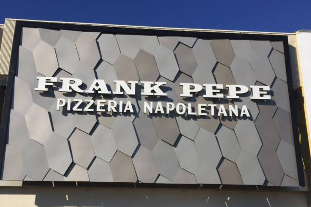 Frank Pepe signage in Chestnut Hill
