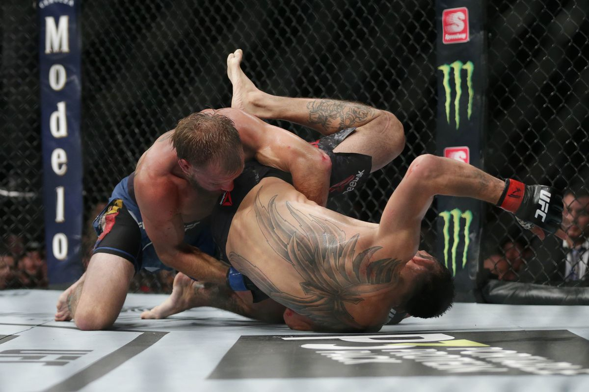 Tony Ferguson (red gloves) and Donald Cerrone (blue gloves) during UFC 238 at United Center.