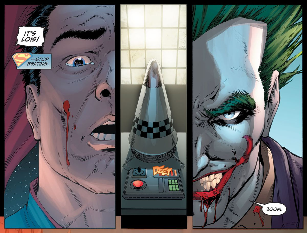 The Joker smiles as Superman realizes he's just been tricked into killing Lois Lane, whose heart was rigged to trigger a nuclear bomb in Metropolis if it stopped beating, in Injustice: Gods Among Us: Year One, DC Comics.