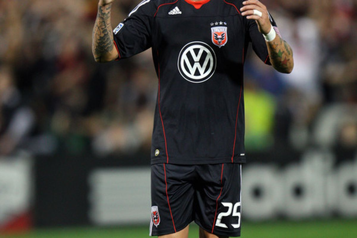 WASHINGTON - APRIL 3: Santino Quaranta #25 of D.C. United reacts after missing a shot against the New England Revolution at RFK Stadium on April 3, 2010 in Washington, DC. (Photo by Ned Dishman/Getty Images)