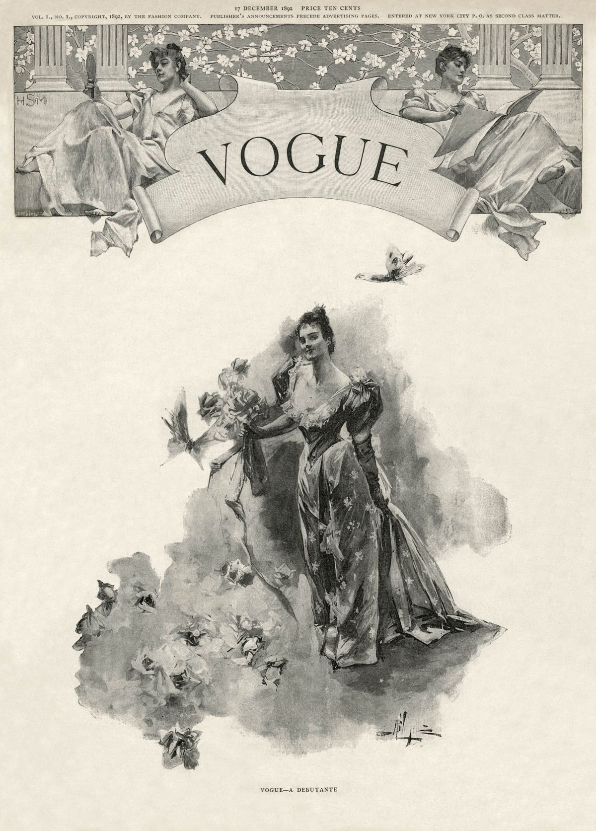 The First Ever Vogue Magazine Cover From December 1892 A Drawing Of