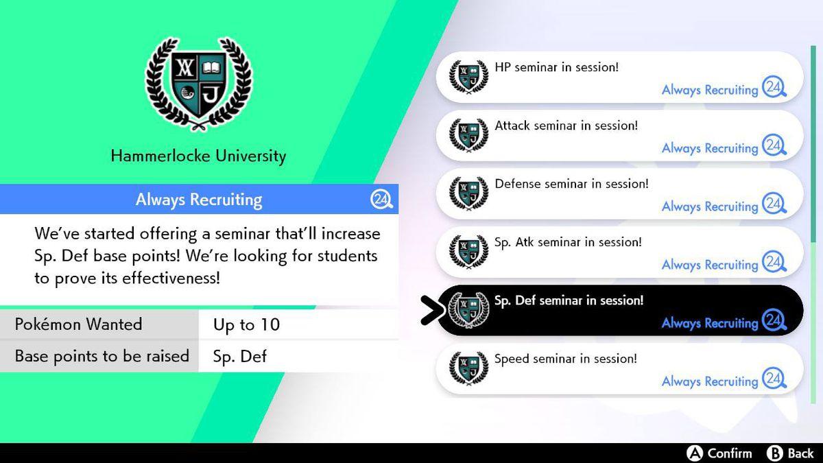 The job menu in Pokémon Sword and Shield shows the Hammerlocke University seminars, where Pokémon can raise their EVs