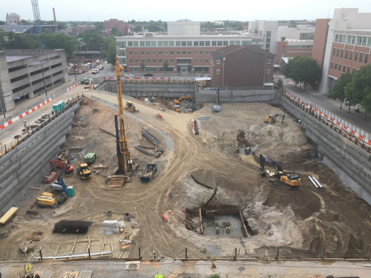 An aerial view of the large construction site.