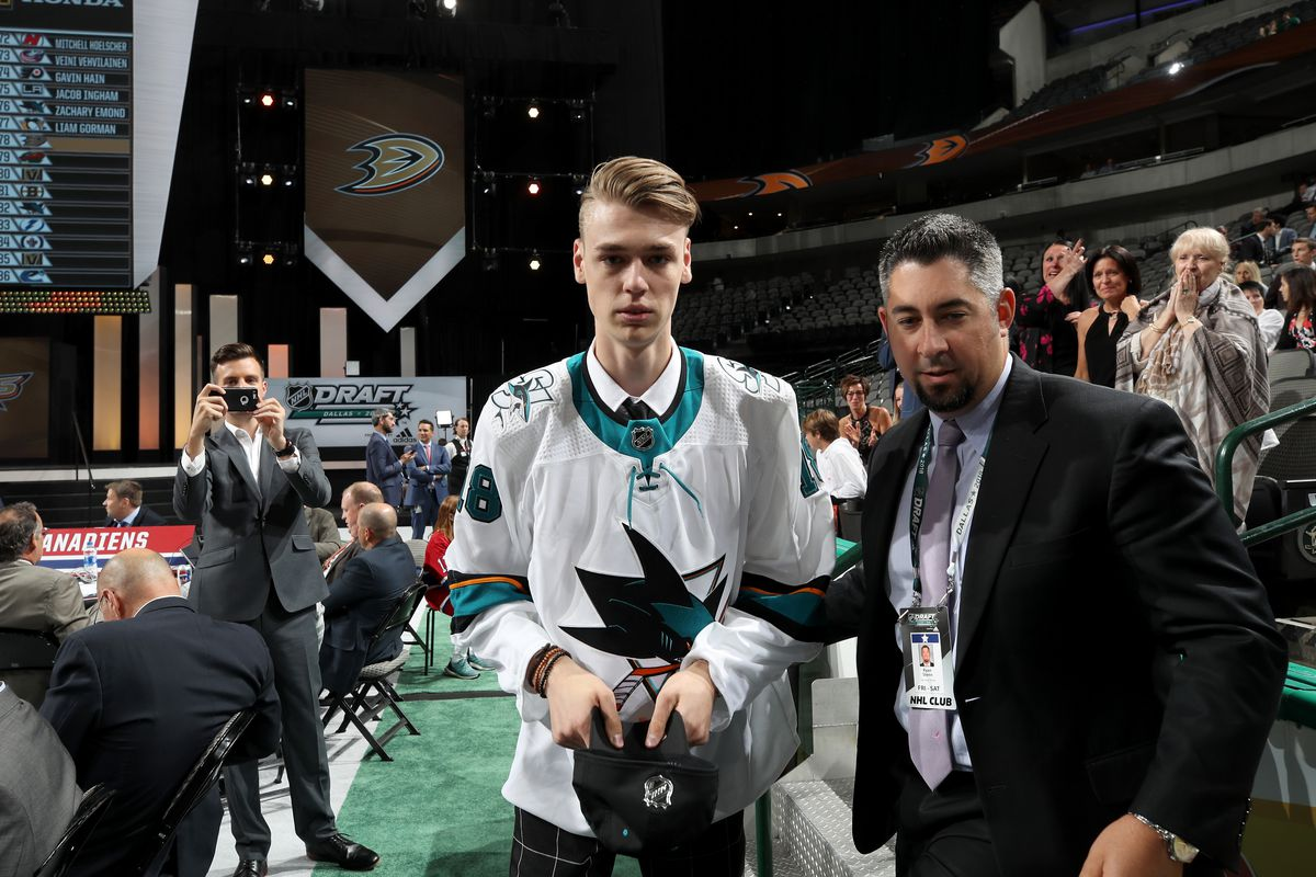 DALLAS, TX - JUNE 23: Zachary Emond reacts after being selected 176th overall by the San Jose Sharks during the 2018 NHL Draft at American Airlines Center on June 23, 2018 in Dallas, Texas.