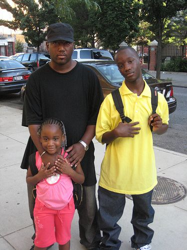 Maurice Jordan with his children on the first day of school.