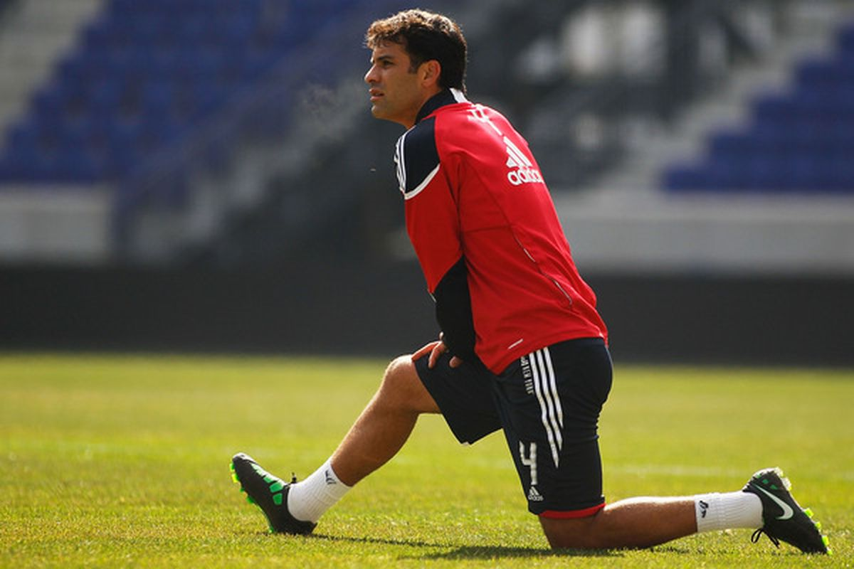 Rafa Marquez is one of six players that will be missing from the Red Bulls due to FIFA friendly matches. Seen here in training at Red Bull Arena on Tuesday. (Photo by Mike Stobe/Getty Images for New York Red Bulls)