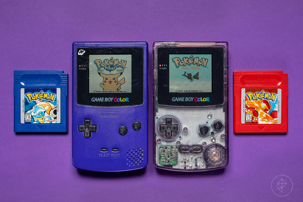 photo of Pokemon Red and Blue versions running on Game Boy Color