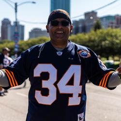Fans proudly wore Walter Payton's jersey in Grant Park Thursday afternoon at the NFL's Kickoff experience.