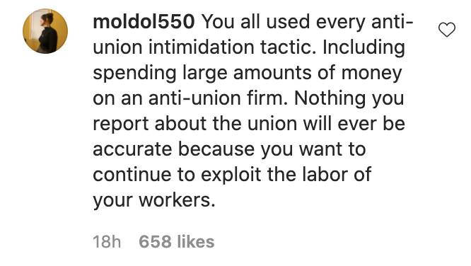 A screenshot of an Instagram comment.
