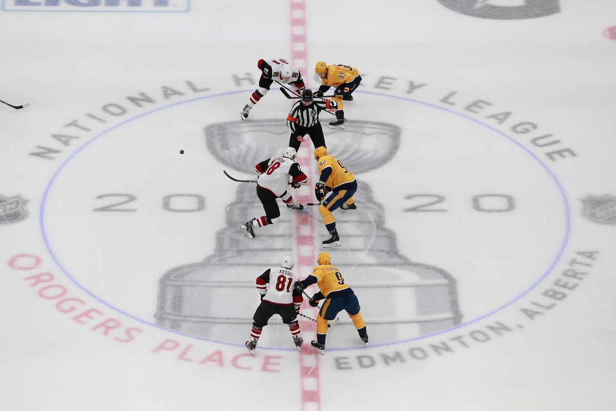 The puck is dropped between the Arizona Coyotes and the Nashville Predators in Game One of the Western Conference Qualification Round prior to the 2020 NHL Stanley Cup Playoffs at Rogers Place on August 02, 2020 in Edmonton, Alberta, Canada.