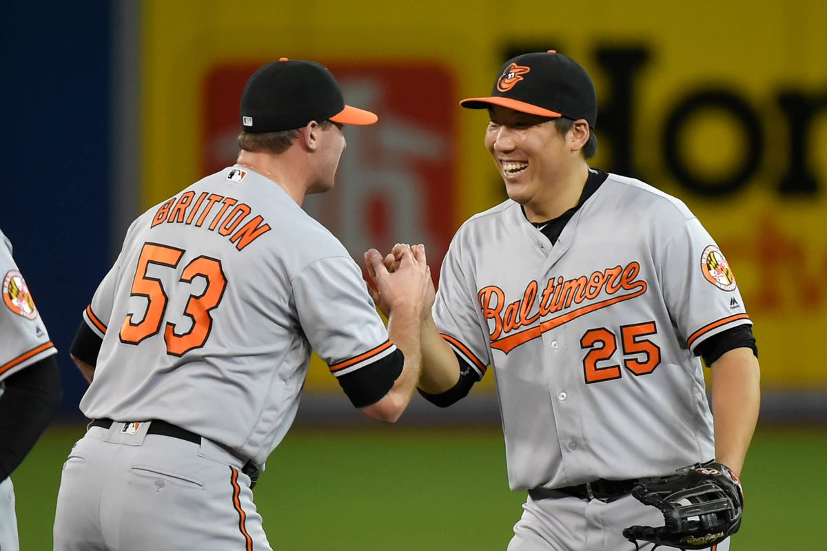 Excellent Orioles Hyun Soo Kim and Zach Britton celebrate an unlikely victory in Toronto.