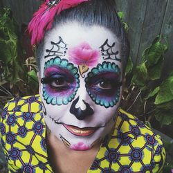 """Today I was booked to paint sugar skulls for a birthday lunch! I had so much fun painting myself before the party. I had to wear the new gorgeous coat I got from <a href=""""http://royaljellyharlem.com/""""><b>Royal Jelly Harlem</b></a>. They have a cool clothi"""