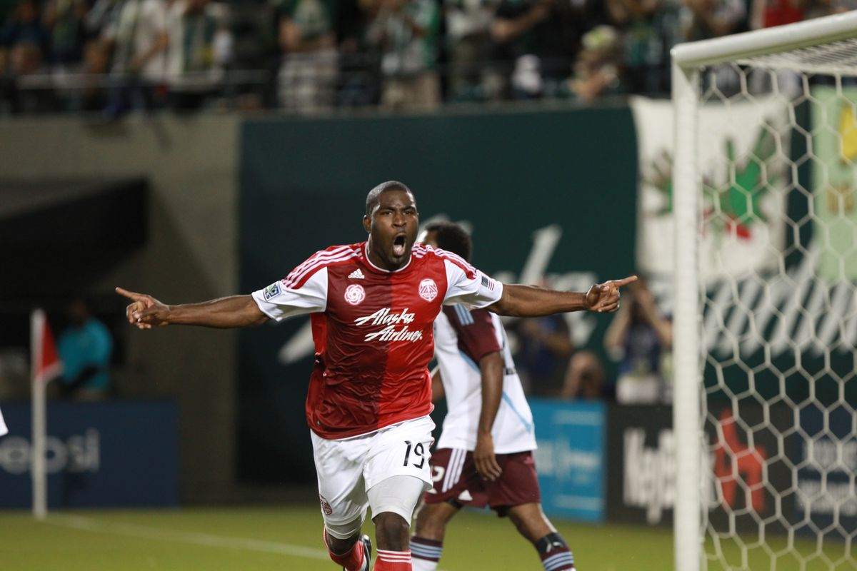 PORTLAND, OR - AUGUST 31: Bright Dike #19 of Portland Timbers celebrates his goal against the Colorado Rapids on August 31, 2012 at Jeld-Wen Field in Portland, Oregon. (Photo by Tom Hauck/Getty Images)
