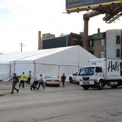4:43 p.m. The private party tent on Addison Street, across from Wrigley, now fully enclosed -