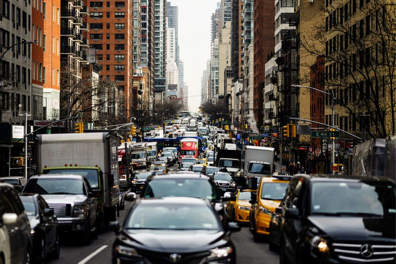 Traffic moves slowly on 2nd Avenue in New York City. In an effort to ease traffic delays and fund public transportation, New York City has passed a plan for congestion pricing for all vehicles traveling into Manhattan south of 61st Street.