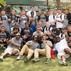 Harlem Jets and BYU coaches pose for a pictures last weekend in New York.