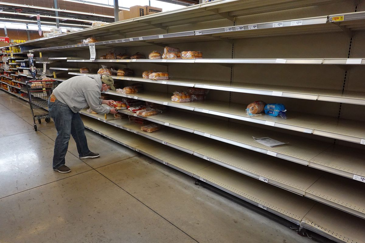 Empty bread shelves at H-E-B in February during the winter storm and forced power outages.