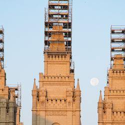 The spires of the Salt Lake Temple are encased in scaffolding during its renovation in Salt Lake City.