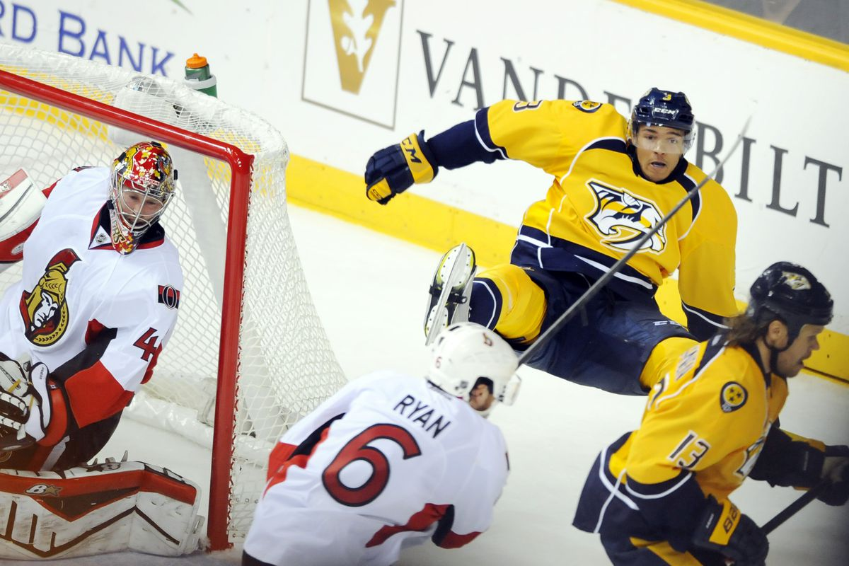 Seth Jones finds the banana peel Andy left behind the net